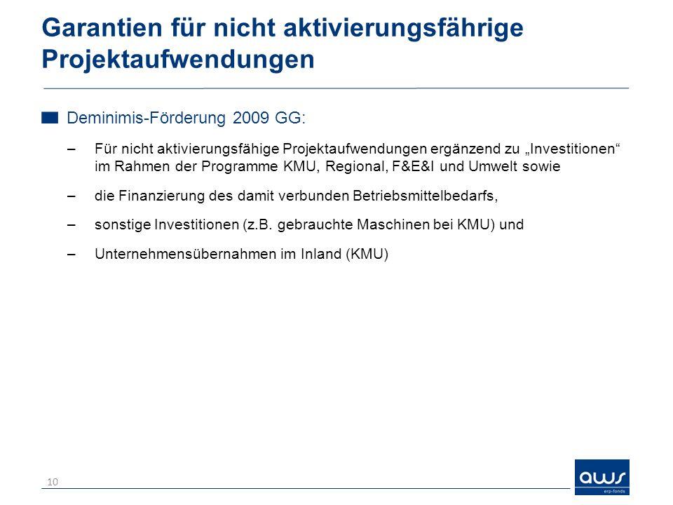 Garantien für nicht aktivierungsfährige Projektaufwendungen Deminimis-Förderung 2009 GG: –Für nicht aktivierungsfähige Projektaufwendungen ergänzend z