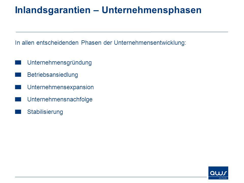 Inlandsgarantien – Unternehmensphasen In allen entscheidenden Phasen der Unternehmensentwicklung: Unternehmensgründung Betriebsansiedlung Unternehmens