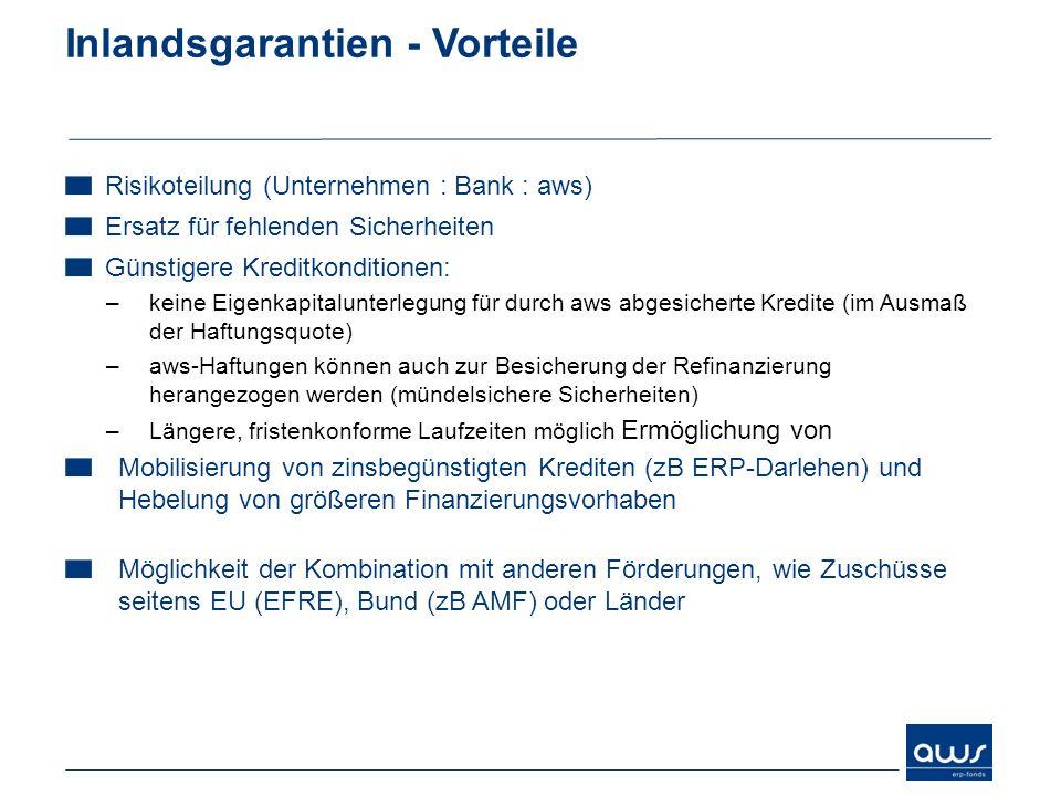 Inlandsgarantien - Vorteile Risikoteilung (Unternehmen : Bank : aws) Ersatz für fehlenden Sicherheiten Günstigere Kreditkonditionen: –keine Eigenkapit