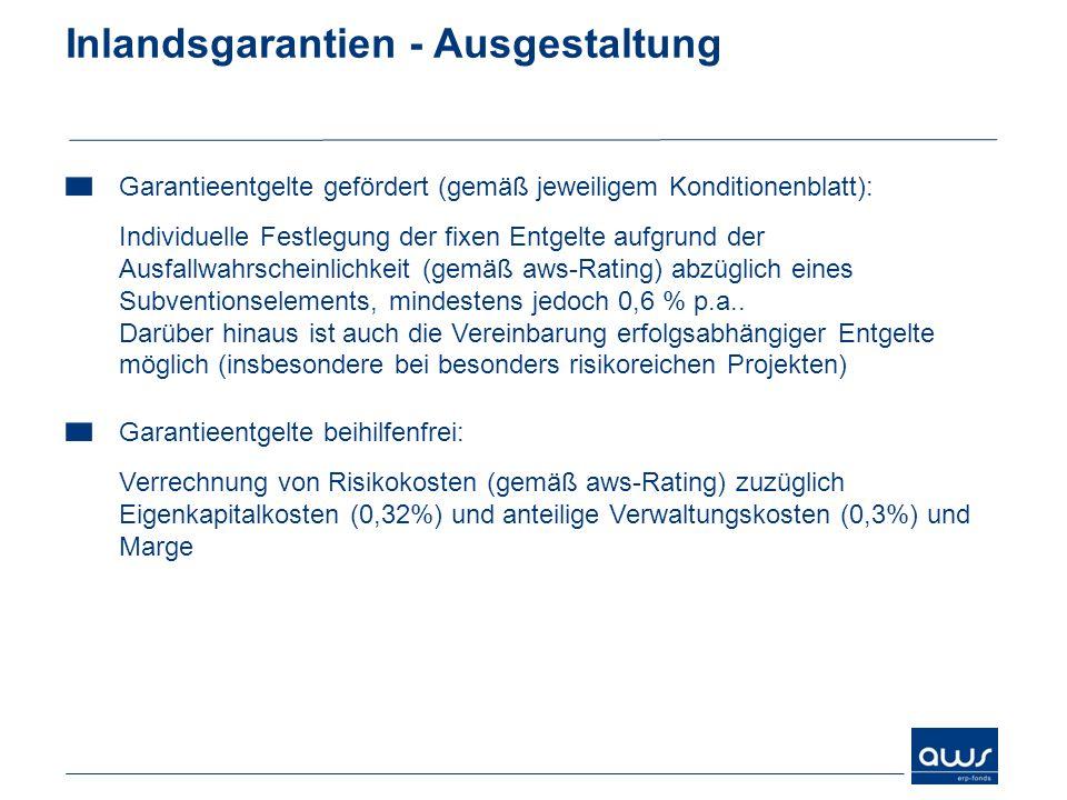 Inlandsgarantien - Ausgestaltung Garantieentgelte gefördert (gemäß jeweiligem Konditionenblatt): Individuelle Festlegung der fixen Entgelte aufgrund d