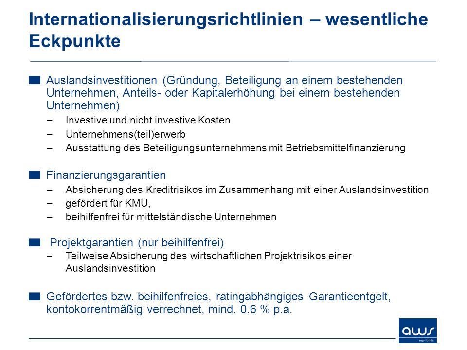 Internationalisierungsrichtlinien – wesentliche Eckpunkte Auslandsinvestitionen (Gründung, Beteiligung an einem bestehenden Unternehmen, Anteils- oder