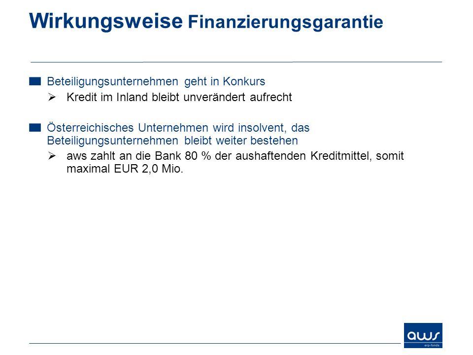 Wirkungsweise Finanzierungsgarantie Beteiligungsunternehmen geht in Konkurs Kredit im Inland bleibt unverändert aufrecht Österreichisches Unternehmen
