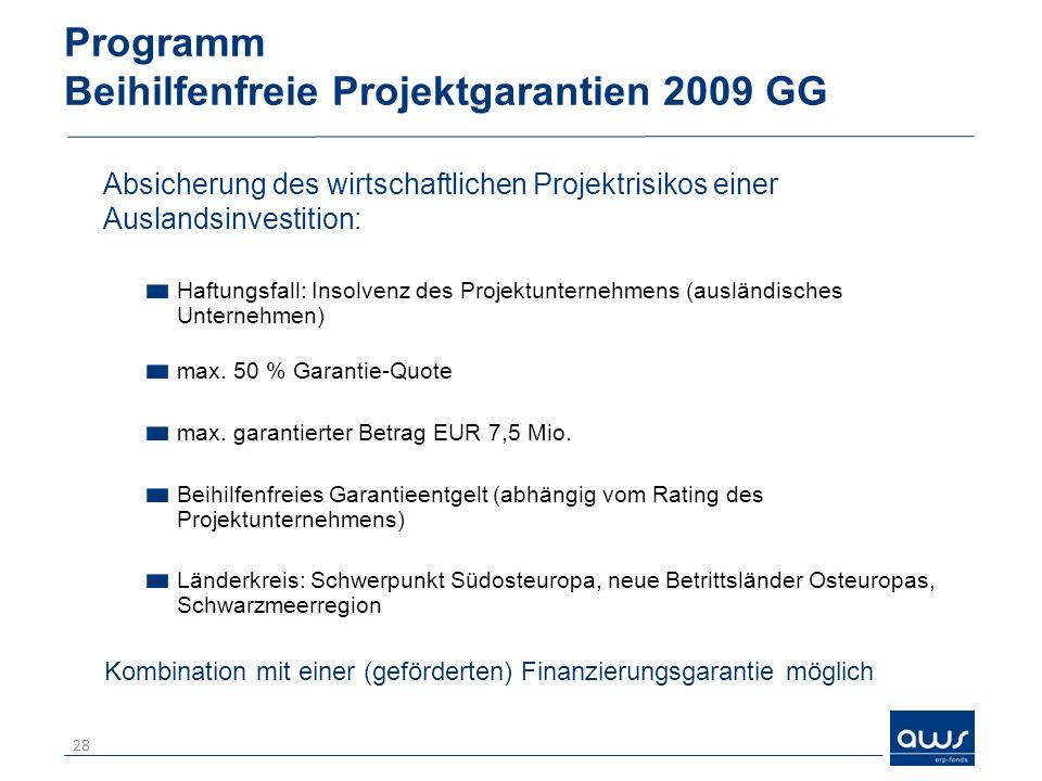 Programm Beihilfenfreie Projektgarantien 2009 GG Absicherung des wirtschaftlichen Projektrisikos einer Auslandsinvestition: Haftungsfall: Insolvenz de