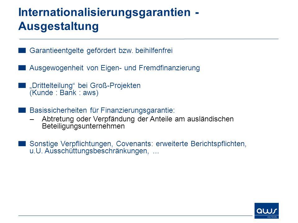 Internationalisierungsgarantien - Ausgestaltung Garantieentgelte gefördert bzw. beihilfenfrei Ausgewogenheit von Eigen- und Fremdfinanzierung Drittelt