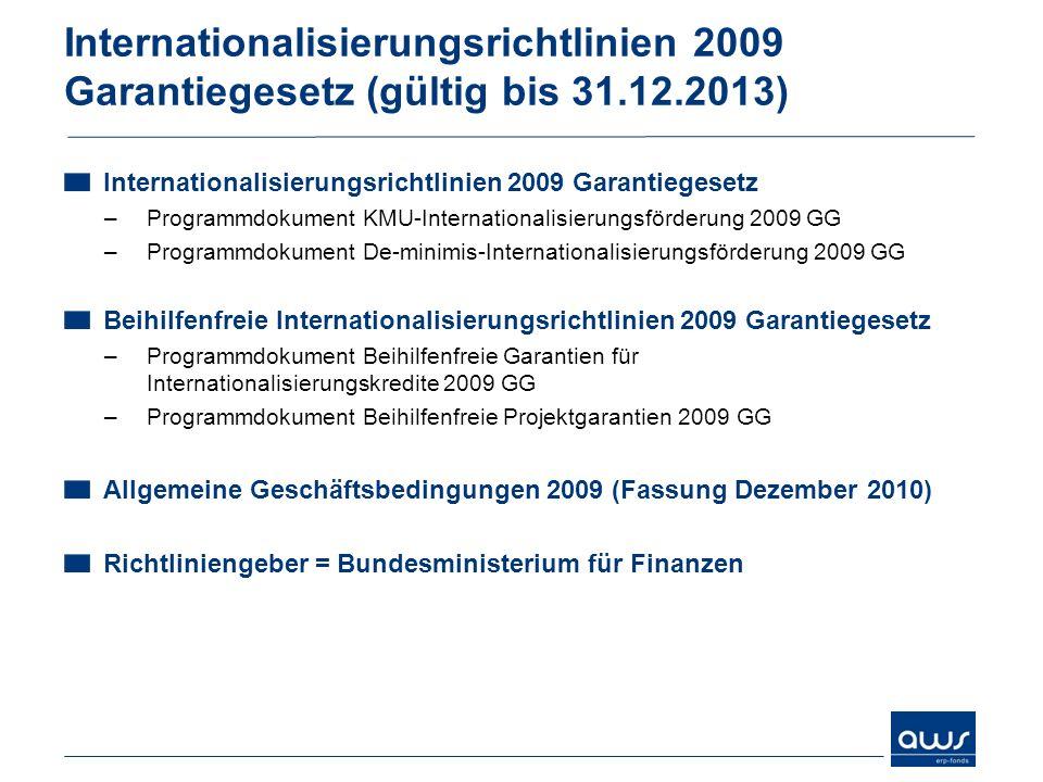Internationalisierungsrichtlinien 2009 Garantiegesetz (gültig bis 31.12.2013) Internationalisierungsrichtlinien 2009 Garantiegesetz –Programmdokument