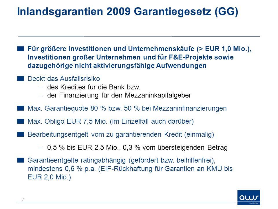 Inlandsgarantien 2009 Garantiegesetz (GG) Für größere Investitionen und Unternehmenskäufe (> EUR 1,0 Mio.), Investitionen großer Unternehmen und für F