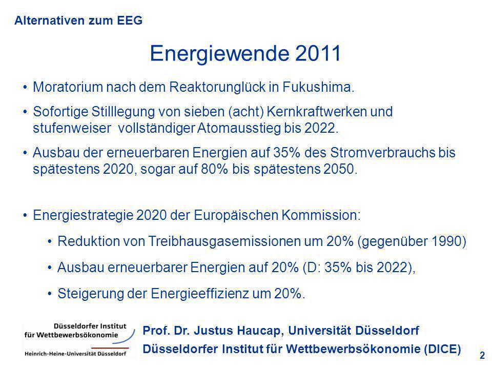 Alternativen zum EEG 2 Prof. Dr. Justus Haucap, Universität Düsseldorf Düsseldorfer Institut für Wettbewerbsökonomie (DICE) Energiewende 2011 Moratori