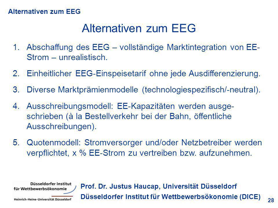 Alternativen zum EEG 28 Prof. Dr. Justus Haucap, Universität Düsseldorf Düsseldorfer Institut für Wettbewerbsökonomie (DICE) Alternativen zum EEG 1.Ab