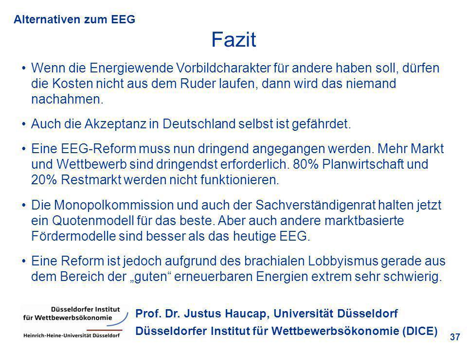 Alternativen zum EEG 37 Prof. Dr. Justus Haucap, Universität Düsseldorf Düsseldorfer Institut für Wettbewerbsökonomie (DICE) Fazit Wenn die Energiewen