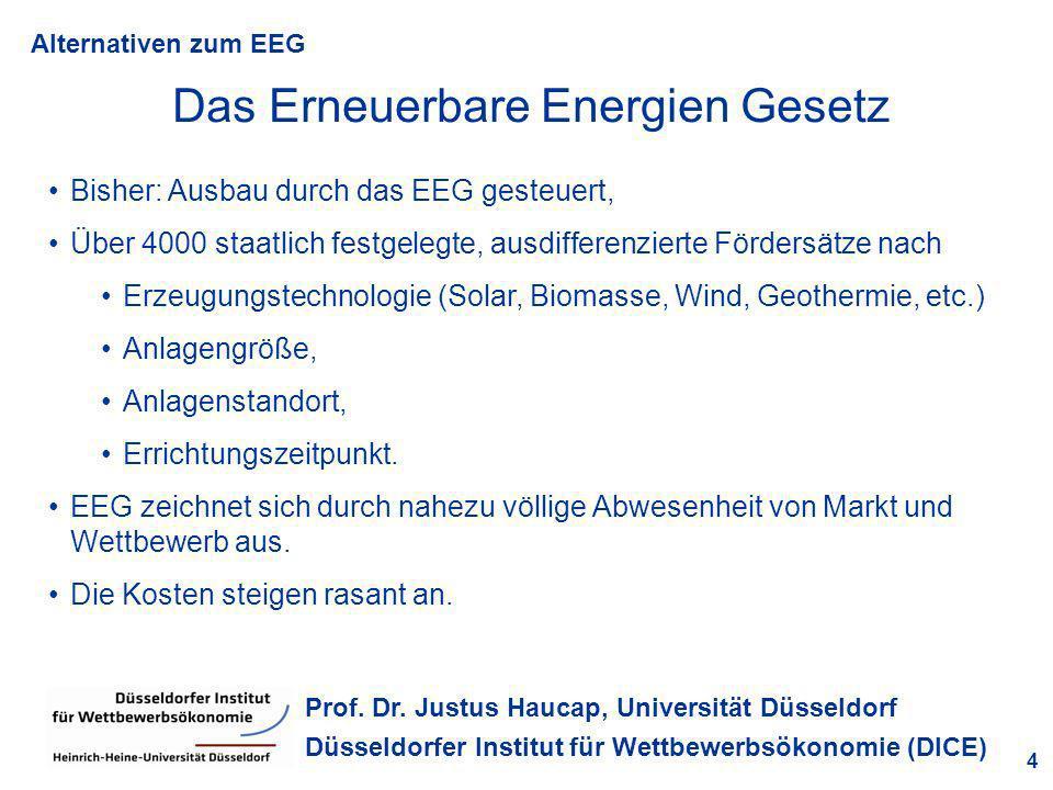 Alternativen zum EEG 4 Prof. Dr. Justus Haucap, Universität Düsseldorf Düsseldorfer Institut für Wettbewerbsökonomie (DICE) Das Erneuerbare Energien G