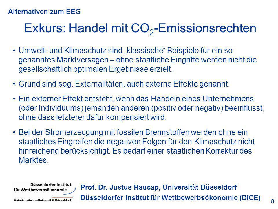 Alternativen zum EEG 8 Prof. Dr. Justus Haucap, Universität Düsseldorf Düsseldorfer Institut für Wettbewerbsökonomie (DICE) Exkurs: Handel mit CO 2 -E