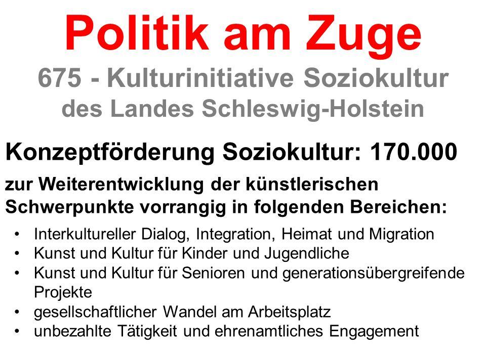 Konzeptförderung Soziokultur: 170.000 zur Weiterentwicklung der künstlerischen Schwerpunkte vorrangig in folgenden Bereichen: Interkultureller Dialog,