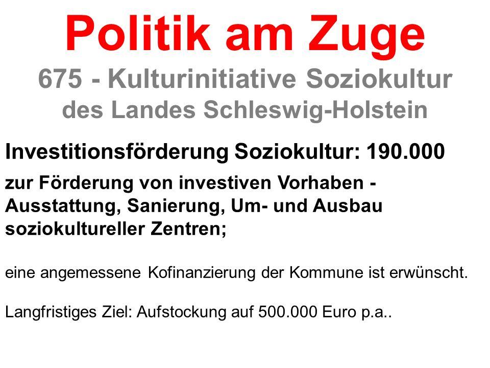 Investitionsförderung Soziokultur: 190.000 zur Förderung von investiven Vorhaben - Ausstattung, Sanierung, Um- und Ausbau soziokultureller Zentren; ei