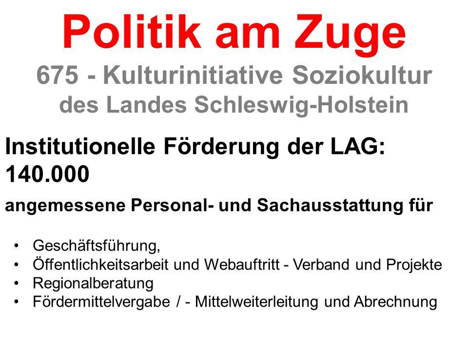 Institutionelle Förderung der LAG: 140.000 angemessene Personal- und Sachausstattung für 675 - Kulturinitiative Soziokultur des Landes Schleswig-Holst