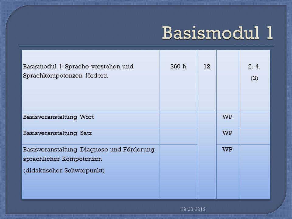 Das Basismodul Sprache verstehen und Sprachkompetenzen fördern wird mit einer benoteten schriftlichen Hausarbeit abgeschlossen, in der die Gegenstände des gesamten Moduls berührt werden.