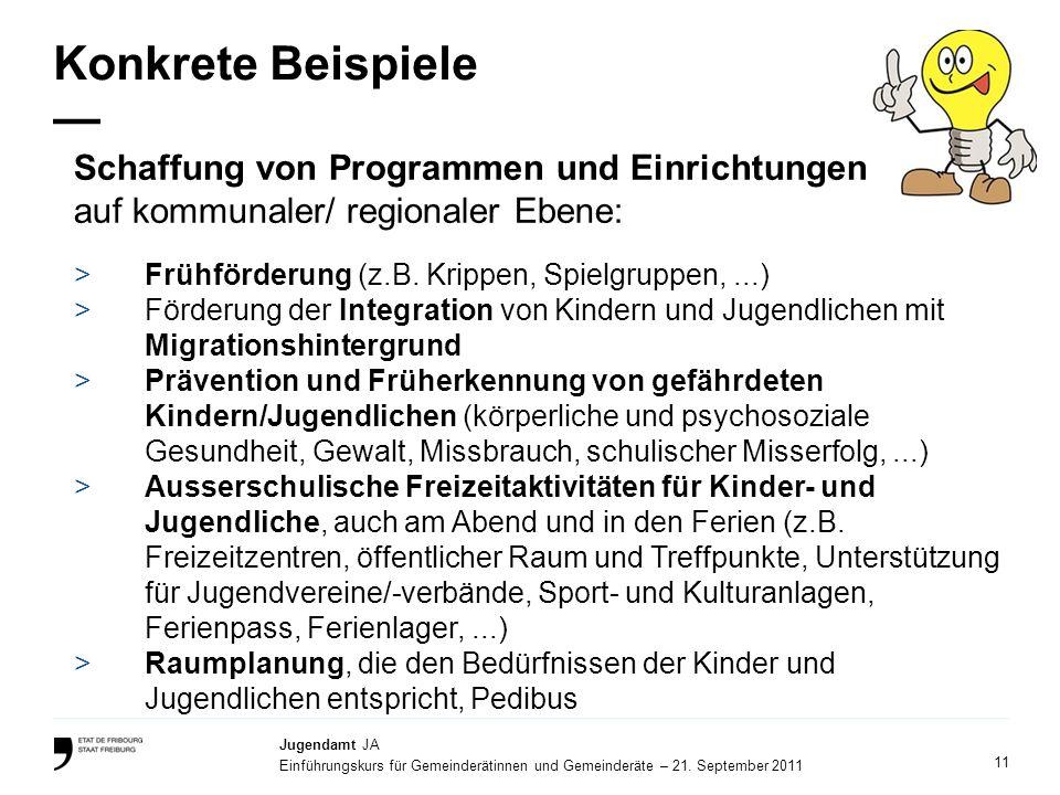 11 Jugendamt JA Einführungskurs für Gemeinderätinnen und Gemeinderäte – 21. September 2011 Konkrete Beispiele >Frühförderung (z.B. Krippen, Spielgrupp