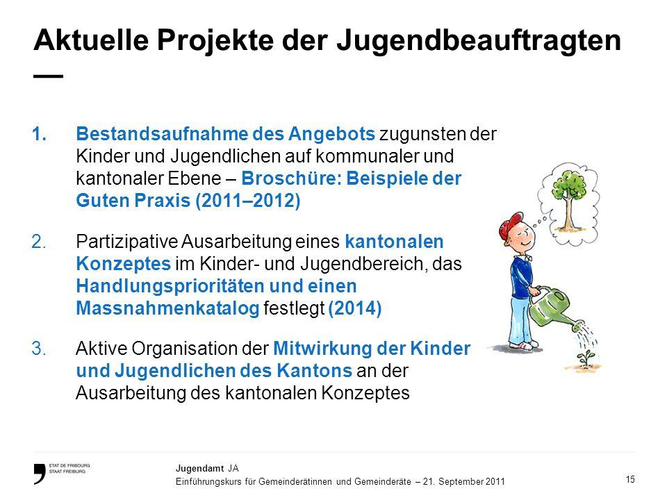 15 Jugendamt JA Einführungskurs für Gemeinderätinnen und Gemeinderäte – 21. September 2011 Aktuelle Projekte der Jugendbeauftragten 1.Bestandsaufnahme
