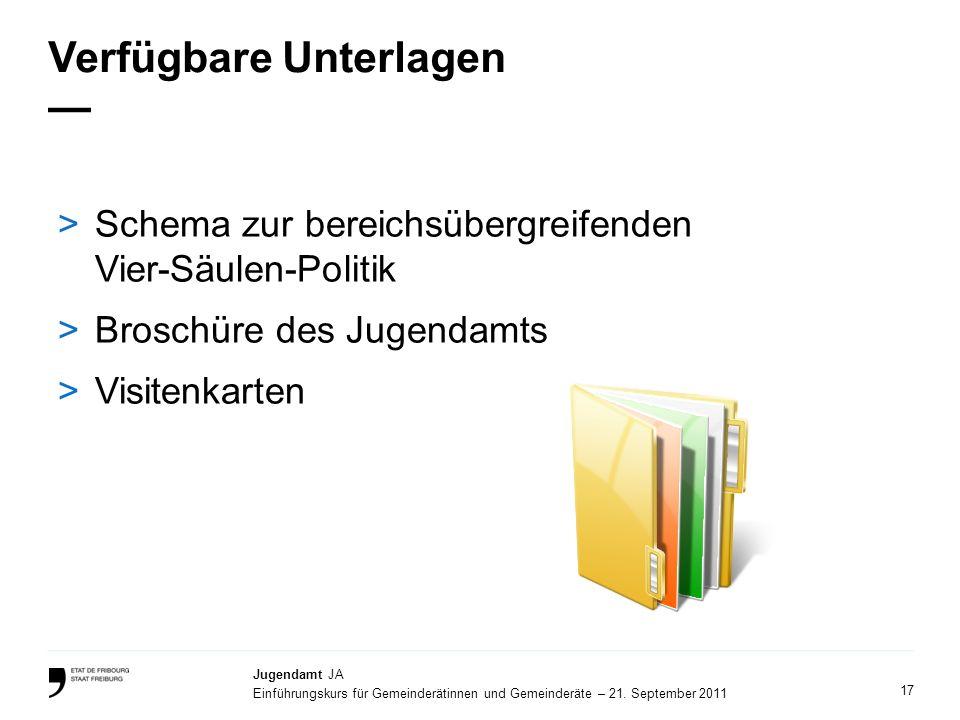 17 Jugendamt JA Einführungskurs für Gemeinderätinnen und Gemeinderäte – 21. September 2011 Verfügbare Unterlagen >Schema zur bereichsübergreifenden Vi