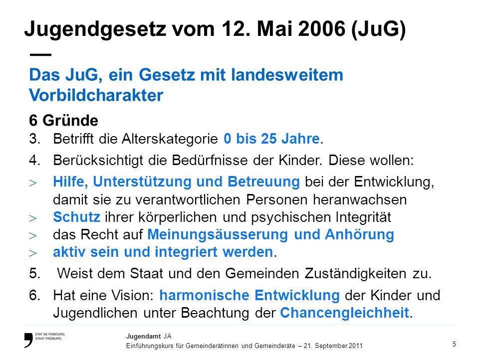 5 Jugendamt JA Einführungskurs für Gemeinderätinnen und Gemeinderäte – 21. September 2011 Jugendgesetz vom 12. Mai 2006 (JuG) Das JuG, ein Gesetz mit