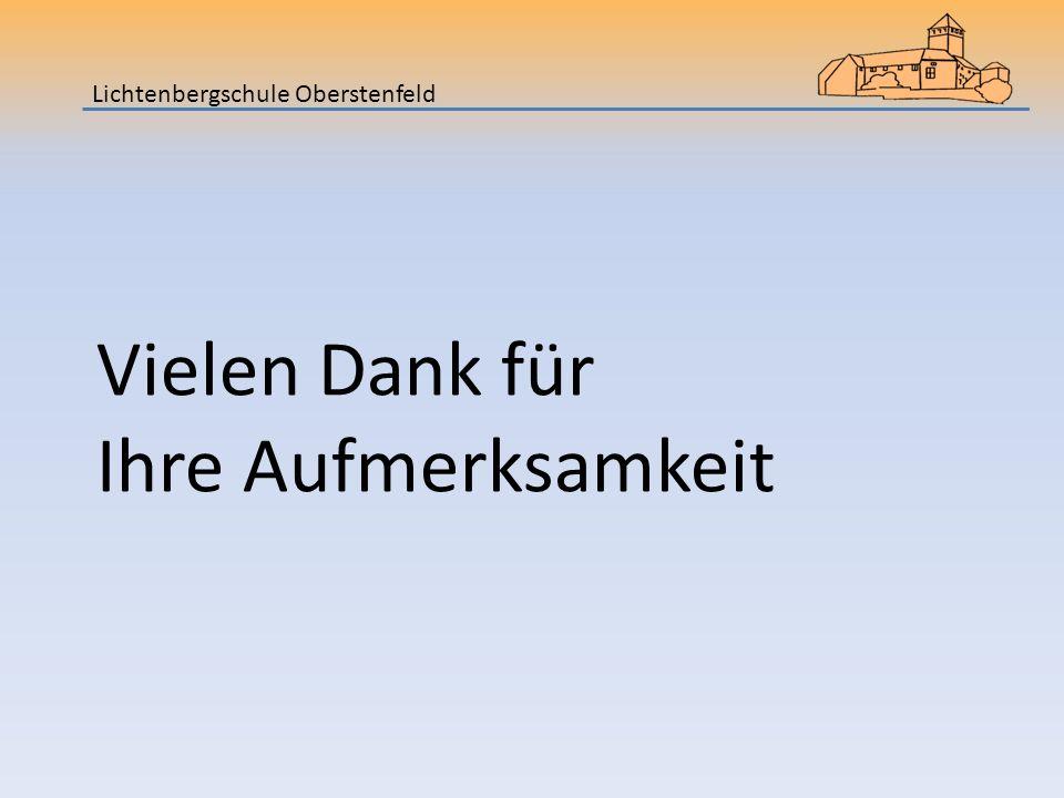 Lichtenbergschule Oberstenfeld Vielen Dank für Ihre Aufmerksamkeit