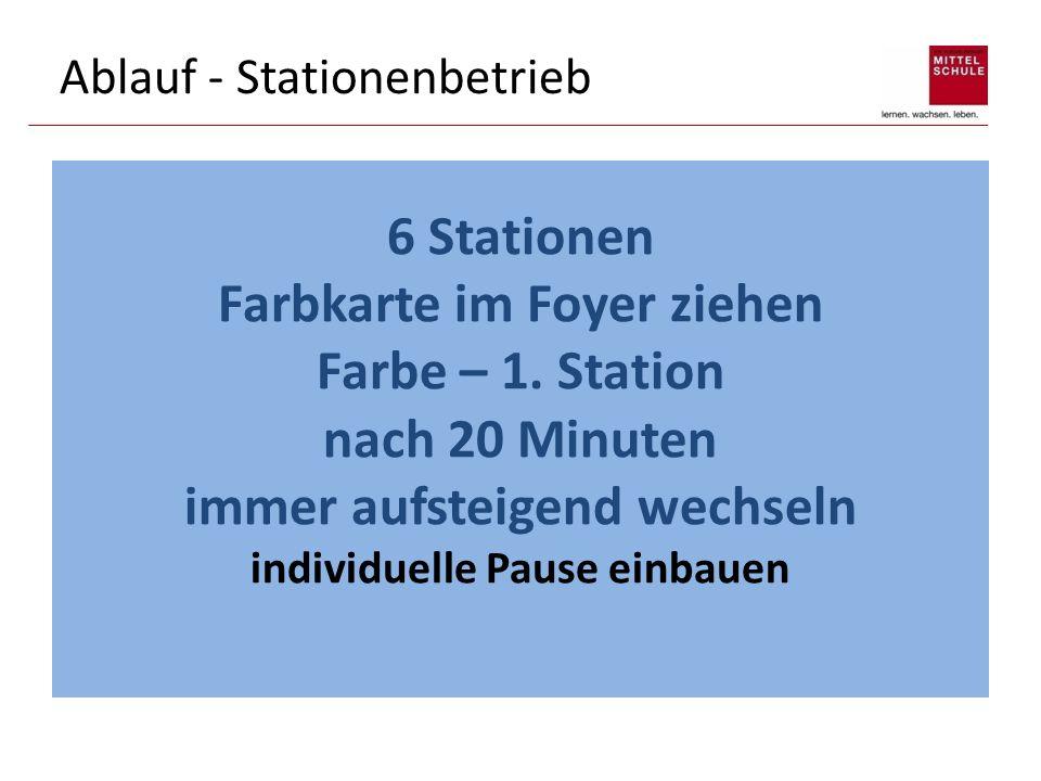 Ablauf - Stationenbetrieb 6 Stationen Farbkarte im Foyer ziehen Farbe – 1. Station nach 20 Minuten immer aufsteigend wechseln individuelle Pause einba
