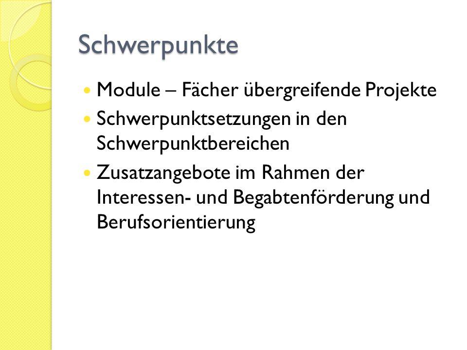 Schwerpunkte Module – Fächer übergreifende Projekte Schwerpunktsetzungen in den Schwerpunktbereichen Zusatzangebote im Rahmen der Interessen- und Bega
