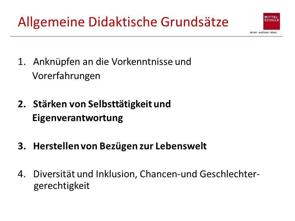 Allgemeine Didaktische Grundsätze 5.Förderung durch Differenzierung und Individualisierung 6.