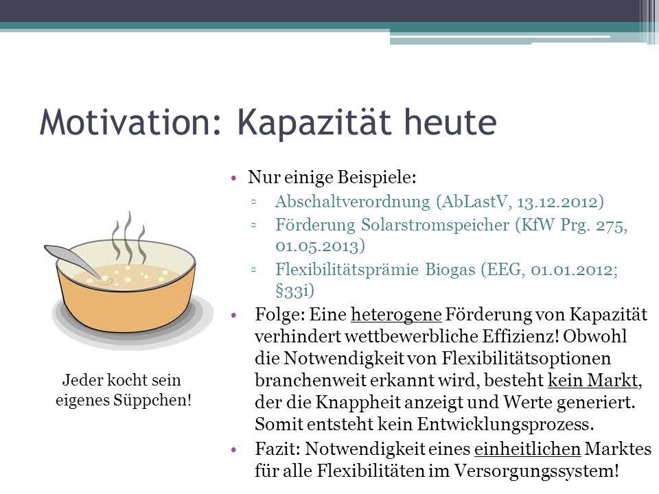 Motivation: Kapazität heute Nur einige Beispiele: Abschaltverordnung (AbLastV, 13.12.2012) Förderung Solarstromspeicher (KfW Prg. 275, 01.05.2013) Fle