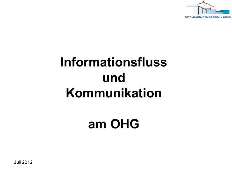 Informationsfluss und Kommunikation am OHG Juli 2012