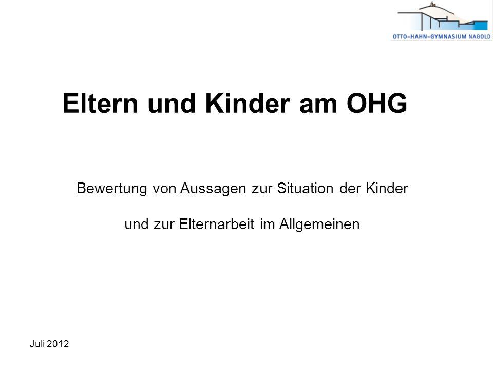 Eltern und Kinder am OHG Bewertung von Aussagen zur Situation der Kinder und zur Elternarbeit im Allgemeinen Juli 2012