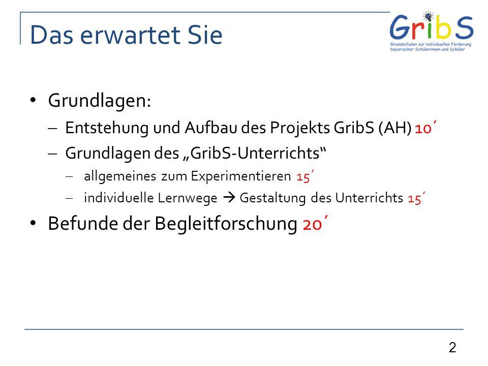 2 Das erwartet Sie Grundlagen: Entstehung und Aufbau des Projekts GribS (AH) 10´ Grundlagen des GribS-Unterrichts allgemeines zum Experimentieren 15´ individuelle Lernwege Gestaltung des Unterrichts 15´ Befunde der Begleitforschung 20´