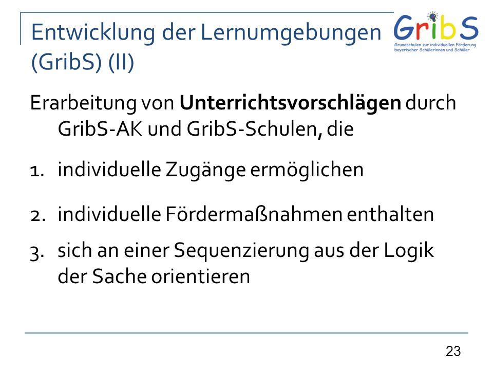 23 Entwicklung der Lernumgebungen (GribS) (II) Erarbeitung von Unterrichtsvorschlägen durch GribS-AK und GribS-Schulen, die 1.individuelle Zugänge ermöglichen 2.individuelle Fördermaßnahmen enthalten 3.sich an einer Sequenzierung aus der Logik der Sache orientieren