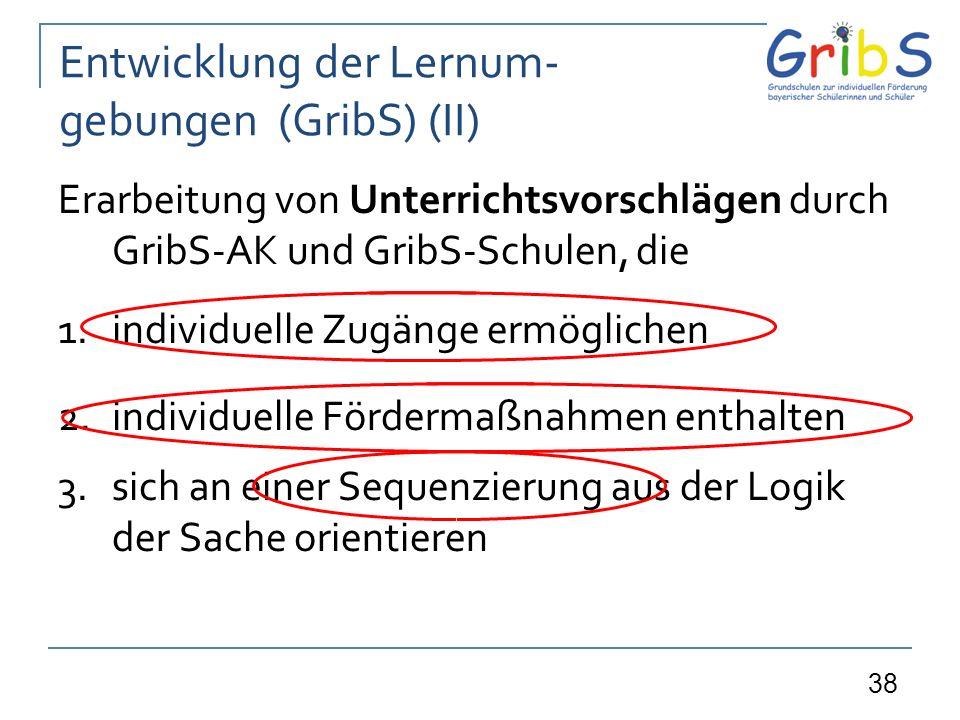 38 Entwicklung der Lernum- gebungen (GribS) (II) Erarbeitung von Unterrichtsvorschlägen durch GribS-AK und GribS-Schulen, die 1.individuelle Zugänge ermöglichen 2.individuelle Fördermaßnahmen enthalten 3.sich an einer Sequenzierung aus der Logik der Sache orientieren