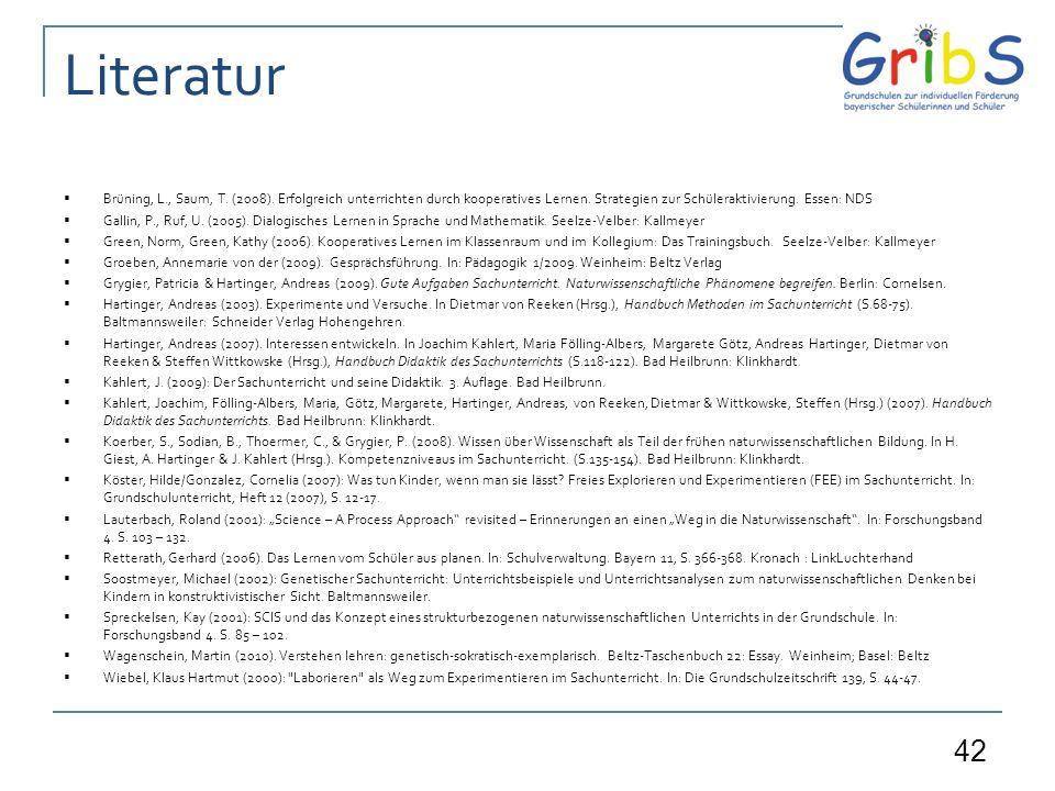 42 Literatur Brüning, L., Saum, T.(2008). Erfolgreich unterrichten durch kooperatives Lernen.