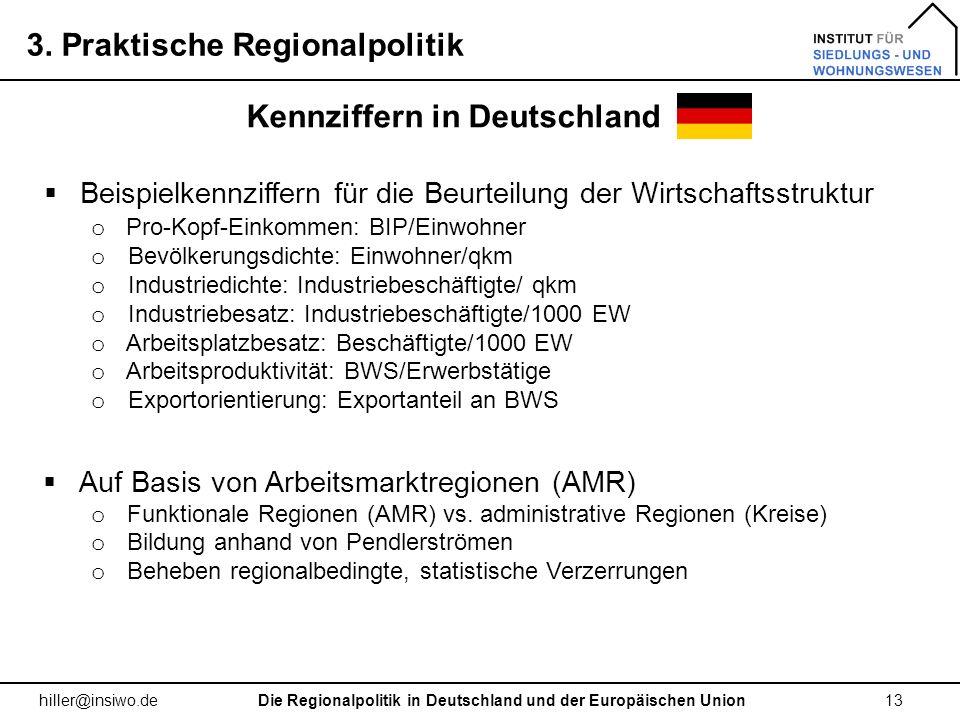 3. Praktische Regionalpolitik 13 hiller@insiwo.de Kennziffern in Deutschland Die Regionalpolitik in Deutschland und der Europäischen Union Beispielken