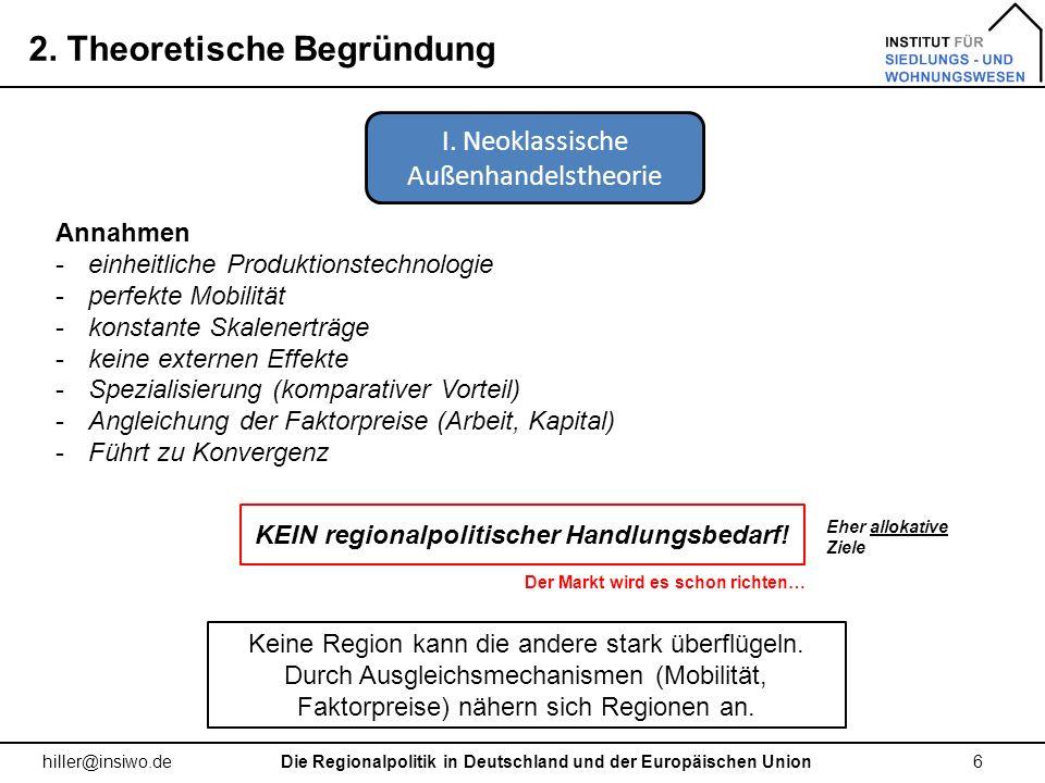 2. Theoretische Begründung 6 hiller@insiwo.de Annahmen -einheitliche Produktionstechnologie -perfekte Mobilität -konstante Skalenerträge -keine extern