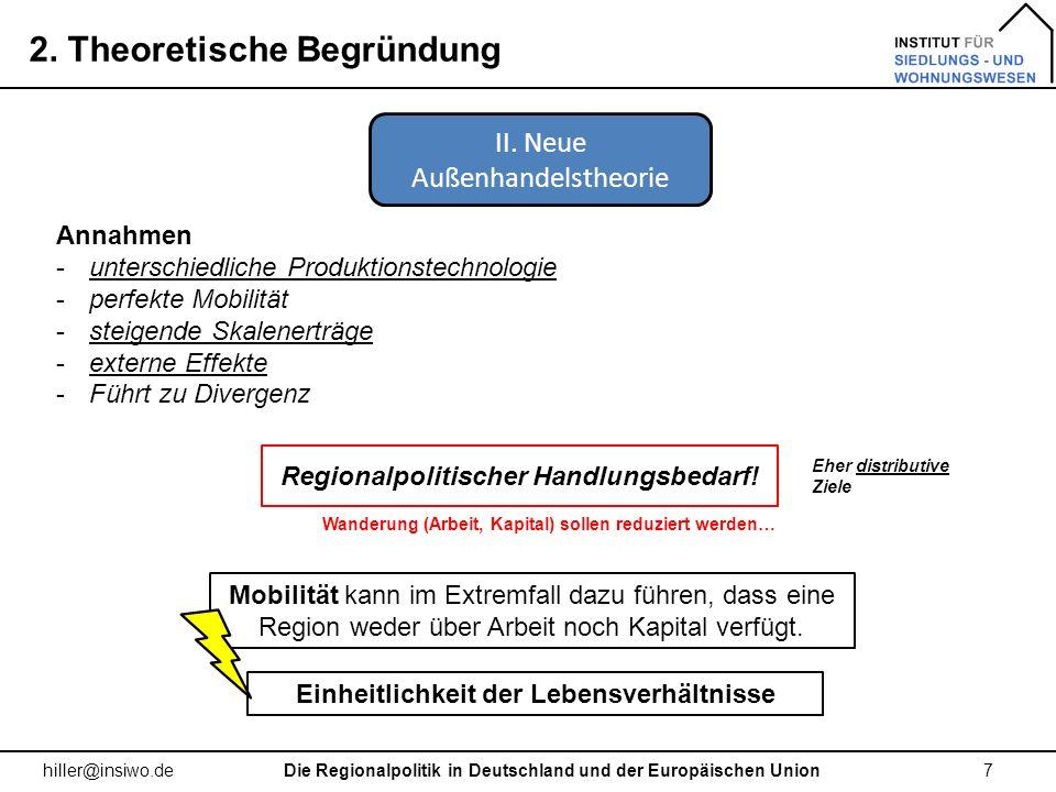 2. Theoretische Begründung 7 hiller@insiwo.de Annahmen -unterschiedliche Produktionstechnologie -perfekte Mobilität -steigende Skalenerträge -externe