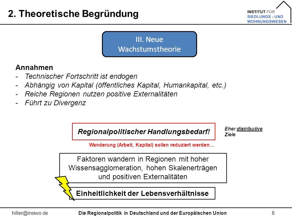 2. Theoretische Begründung 8 hiller@insiwo.de Annahmen -Technischer Fortschritt ist endogen -Abhängig von Kapital (öffentliches Kapital, Humankapital,