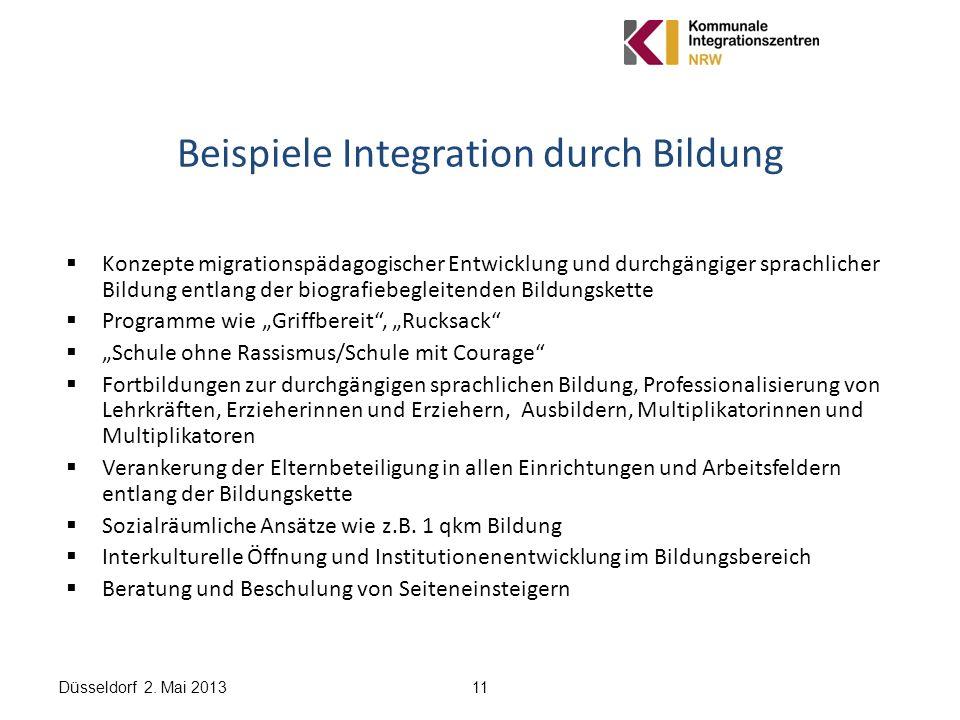 Düsseldorf 2. Mai 201311 Beispiele Integration durch Bildung Konzepte migrationspädagogischer Entwicklung und durchgängiger sprachlicher Bildung entla