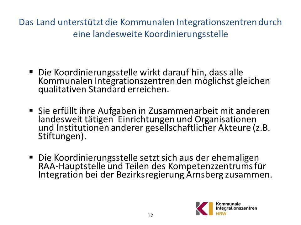 15 Das Land unterstützt die Kommunalen Integrationszentren durch eine landesweite Koordinierungsstelle Die Koordinierungsstelle wirkt darauf hin, dass