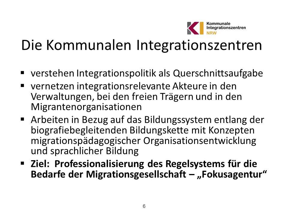 6 Die Kommunalen Integrationszentren verstehen Integrationspolitik als Querschnittsaufgabe vernetzen integrationsrelevante Akteure in den Verwaltungen