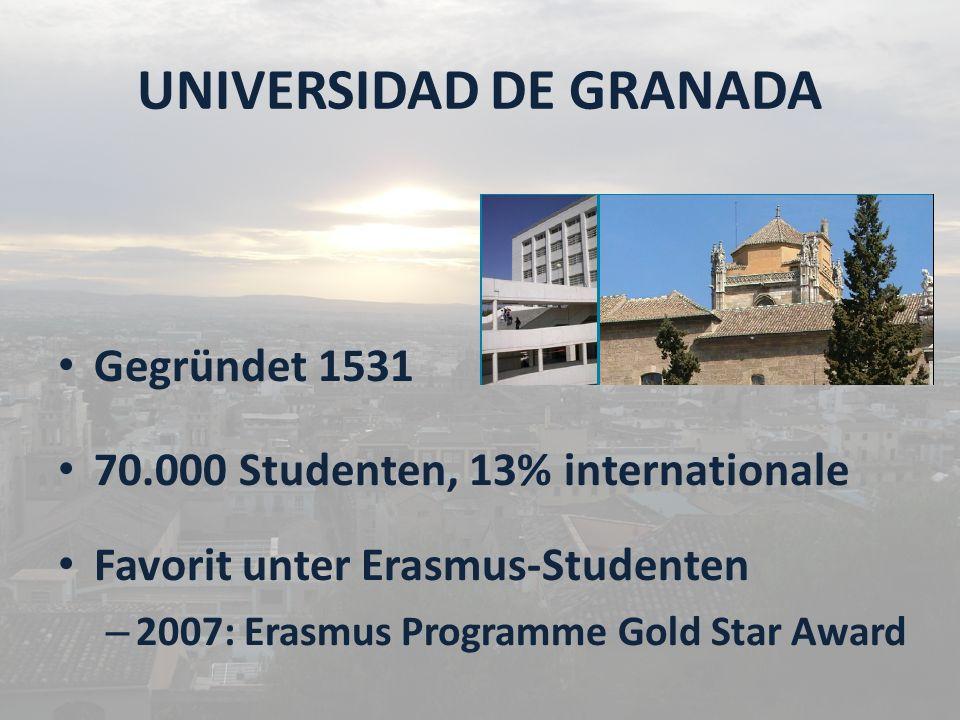 UNIVERSIDAD DE GRANADA Gegründet 1531 70.000 Studenten, 13% internationale Favorit unter Erasmus-Studenten – 2007: Erasmus Programme Gold Star Award