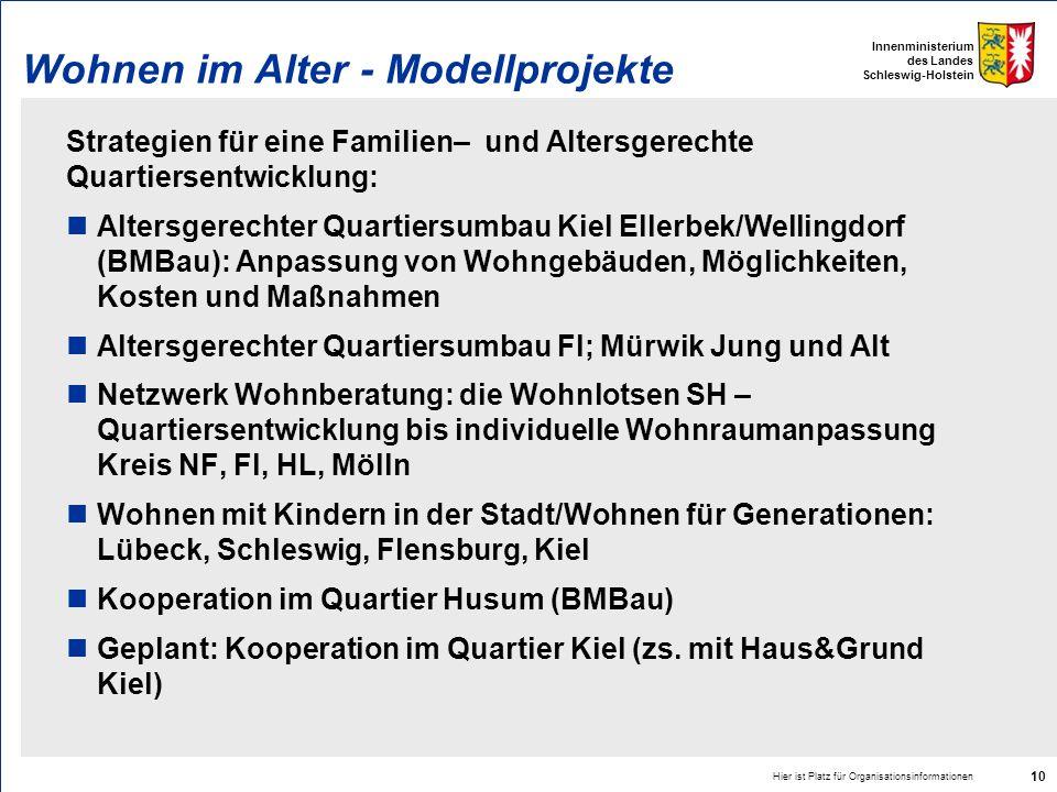 Innenministerium des Landes Schleswig-Holstein Hier ist Platz für Organisationsinformationen 10 Wohnen im Alter - Modellprojekte Strategien für eine F