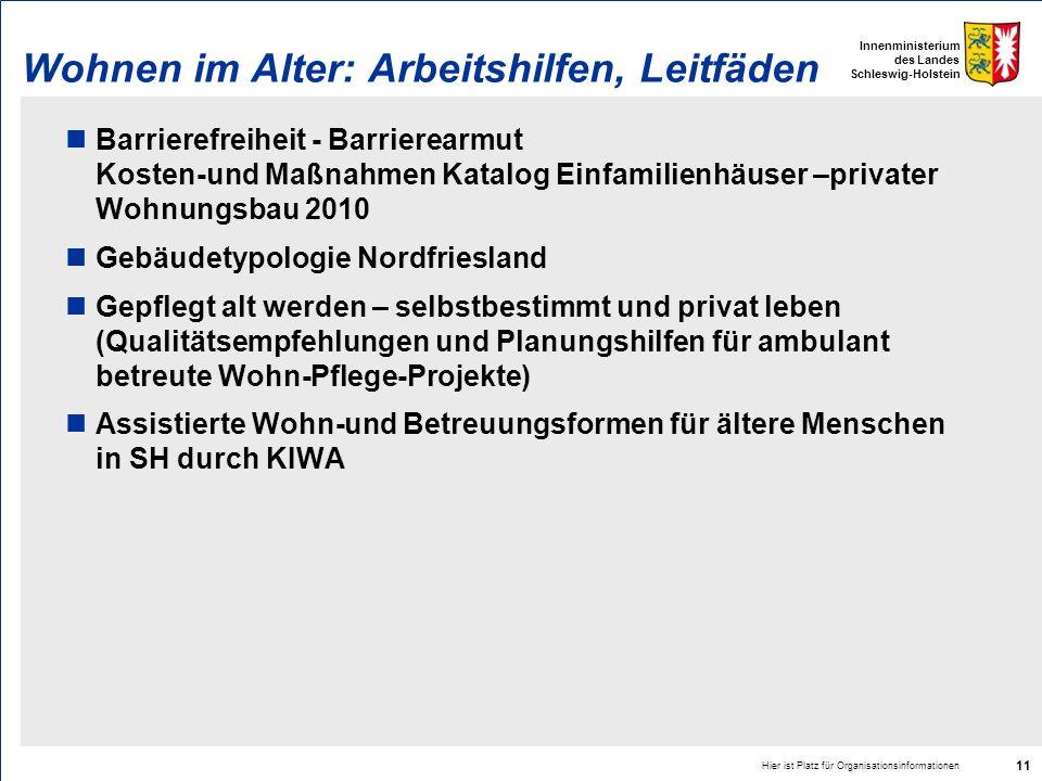 Innenministerium des Landes Schleswig-Holstein Hier ist Platz für Organisationsinformationen 11 Wohnen im Alter: Arbeitshilfen, Leitfäden Barrierefrei