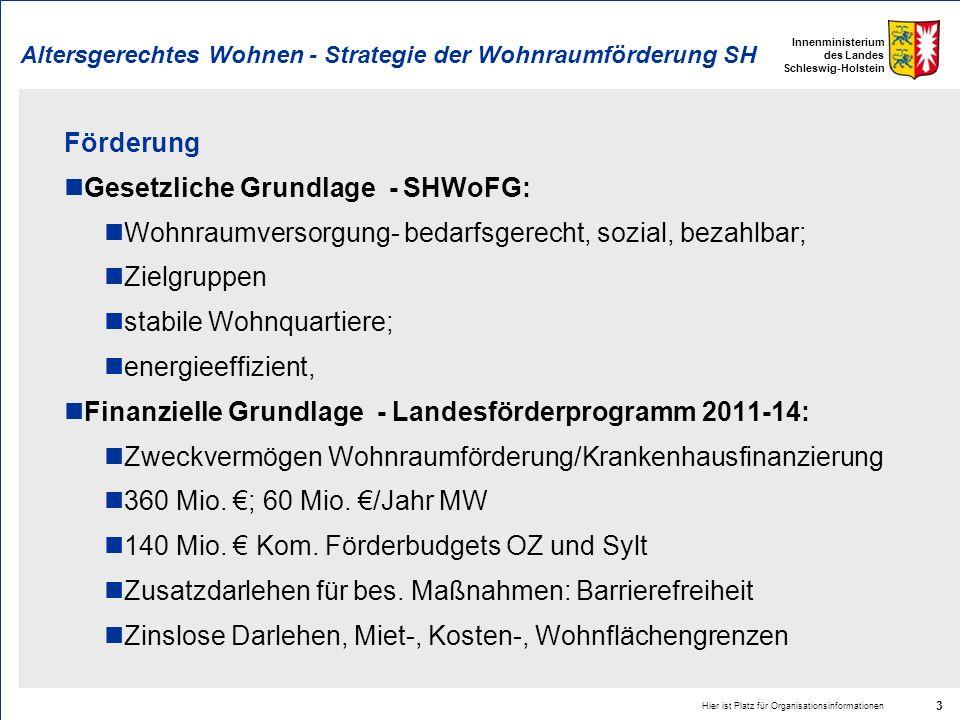 Innenministerium des Landes Schleswig-Holstein Altersgerechtes Wohnen - Strategie der Wohnraumförderung SH Förderung Gesetzliche Grundlage - SHWoFG: W