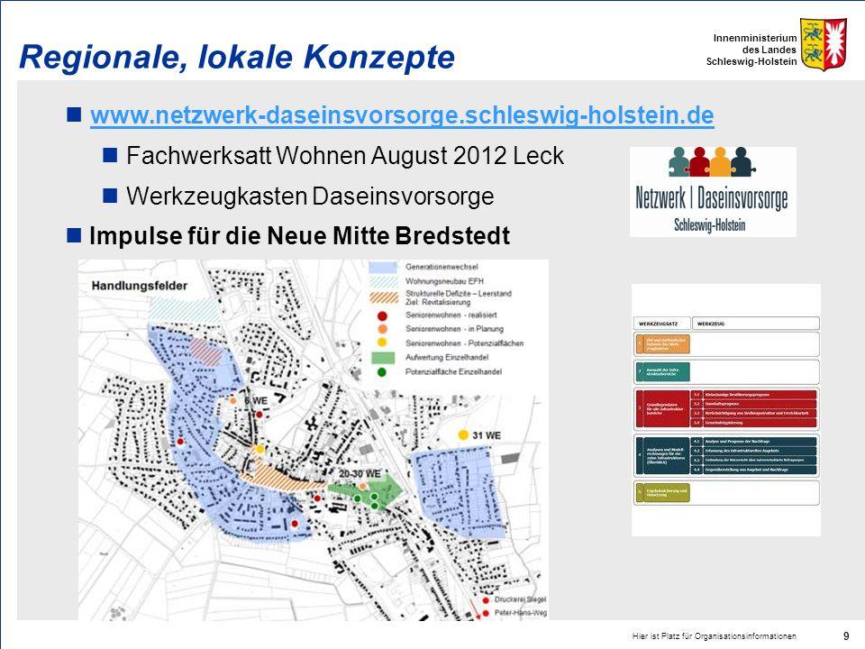 Innenministerium des Landes Schleswig-Holstein Regionale, lokale Konzepte www.netzwerk-daseinsvorsorge.schleswig-holstein.de Fachwerksatt Wohnen Augus