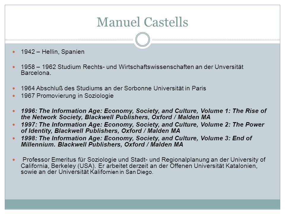 Manuel Castells 1942 – Hellin, Spanien 1958 – 1962 Studium Rechts- und Wirtschaftswissenschaften an der Unversität Barcelona.