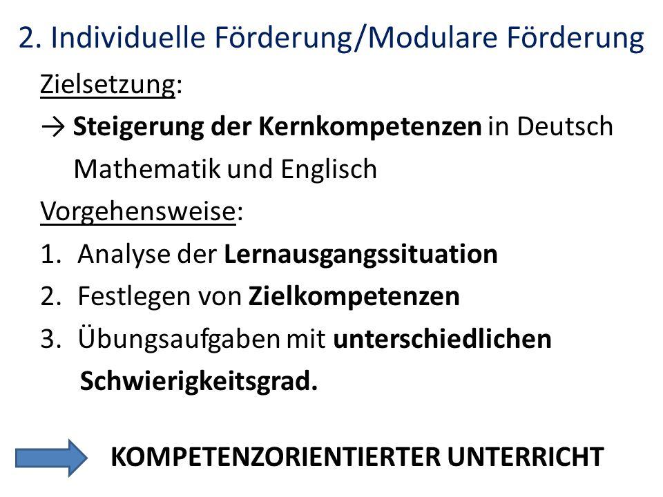 2. Individuelle Förderung/Modulare Förderung Zielsetzung: Steigerung der Kernkompetenzen in Deutsch Mathematik und Englisch Vorgehensweise: 1.Analyse