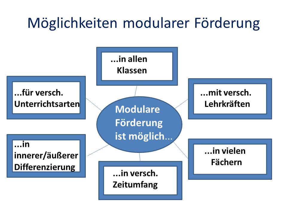 Möglichkeiten modularer Förderung Modulare Förderung ist möglich......in allen Klassen...mit versch. Lehrkräften...in vielen Fächern...in versch. Zeit