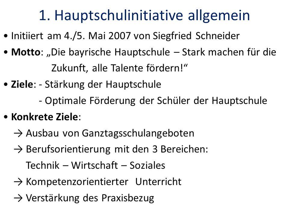 1. Hauptschulinitiative allgemein Initiiert am 4./5. Mai 2007 von Siegfried Schneider Motto: Die bayrische Hauptschule – Stark machen für die Zukunft,